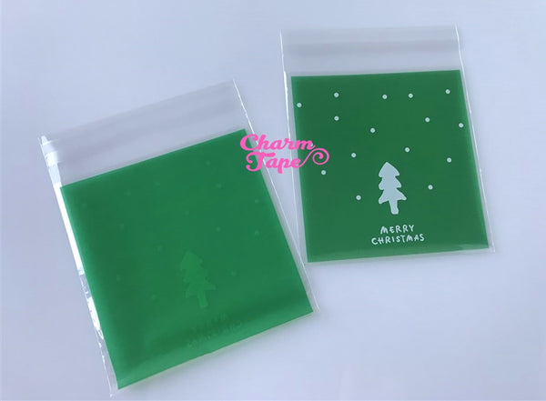 Festive Tree Gift Bags Cello Self-adhesive Cookie bag - Favors Party bags 20/50/100 bags 10x10cm CB69