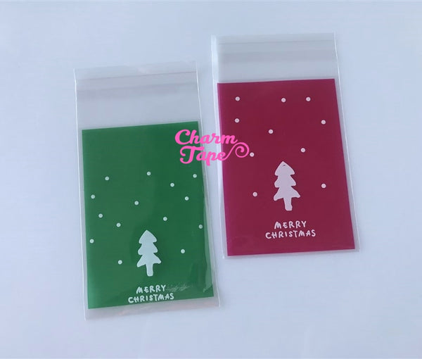 Festive Tree Gift Bags Cello Self-adhesive Cookie bag - Favors Party bags 20/50/100 bags 7x10cm CB68