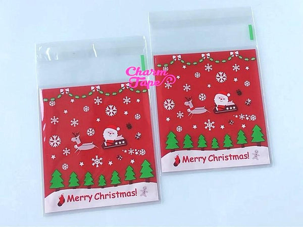 Festive Santa sleigh Gift Bags Cello Bags Self-adhesive Cookie bags - Favors Bags - Party bags 20/50/100 bags CB61
