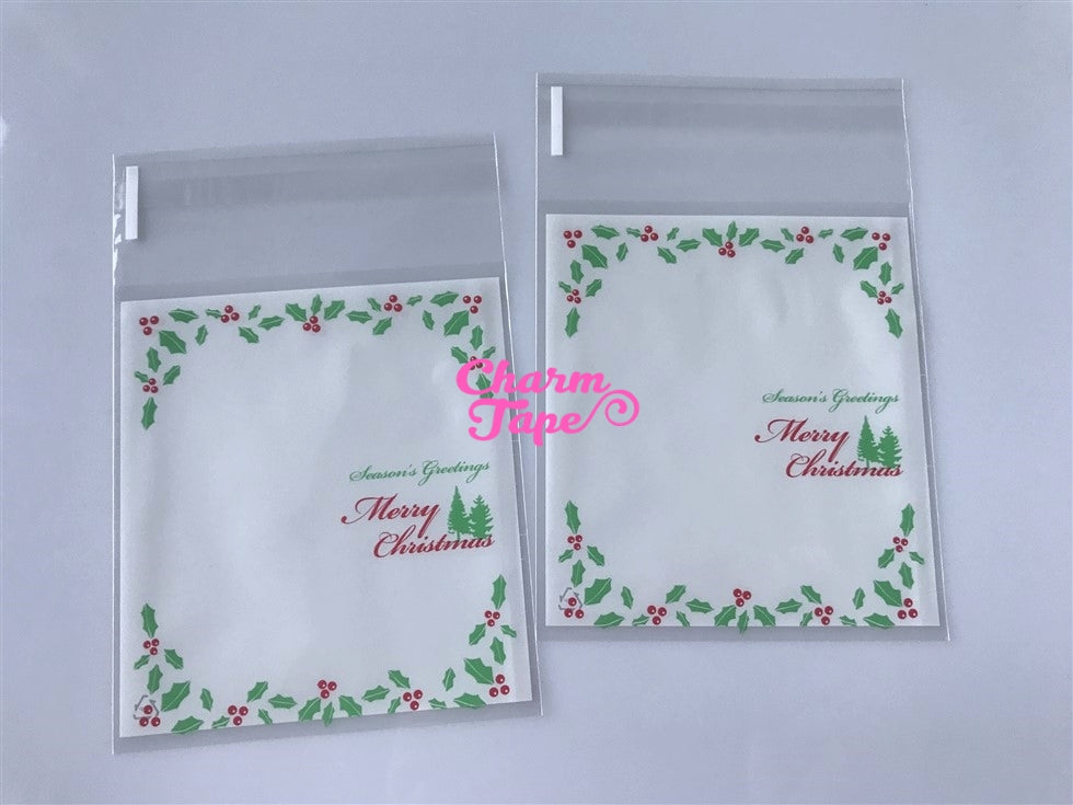 Festive Greeting Simple Gift Bags Cello Bags Self-adhesive Cookie bags - Favors Bags - Party bags 20/50/100 bags CB62