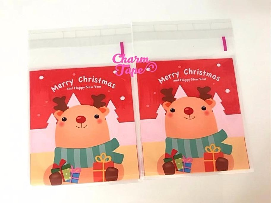 Cute Rudolf reindeer Gift Bags Cello Self-adhesive Cookie bag - Favors Party bags 20/50 bags CB66