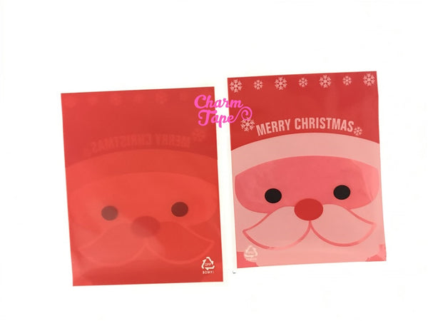Festive Santa Gift Bags Cello Self-adhesive Cookie bag - Favors Party bags 20/50/100 bags 7x10cm CB71