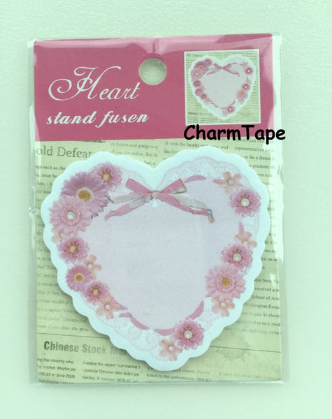Pink Heart with floral Sticky Post It Memo Note Pad 20 sheets SS370 - CharmTape