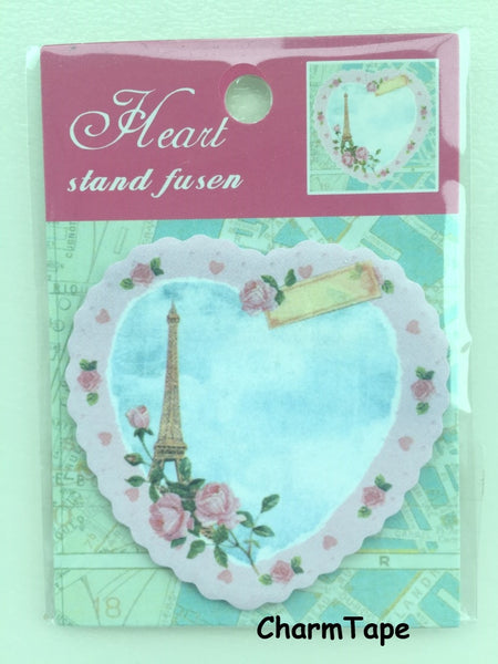 Eiffel Tower & heart Sticky Post It Memo Note Pad 20 sheets SS372 - CharmTape