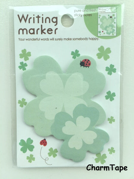 Green Clover Leaf Sticky Post It Memo Note Pad 20 sheets SS376 - CharmTape - 1