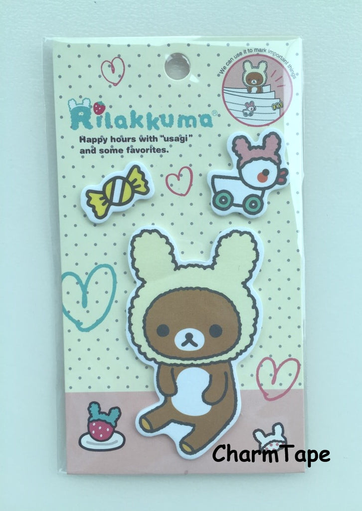 Rilakkuma bear Sticky Post It Memo Note Pad 45 sheets SS383 - CharmTape - 1
