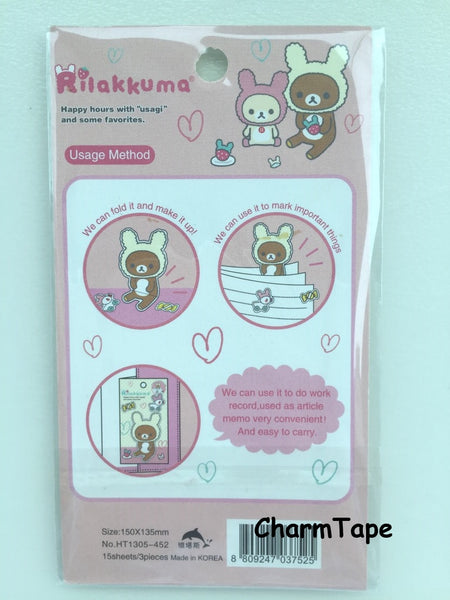 Rilakkuma bear Sticky Post It Memo Note Pad 45 sheets SS383 - CharmTape - 2