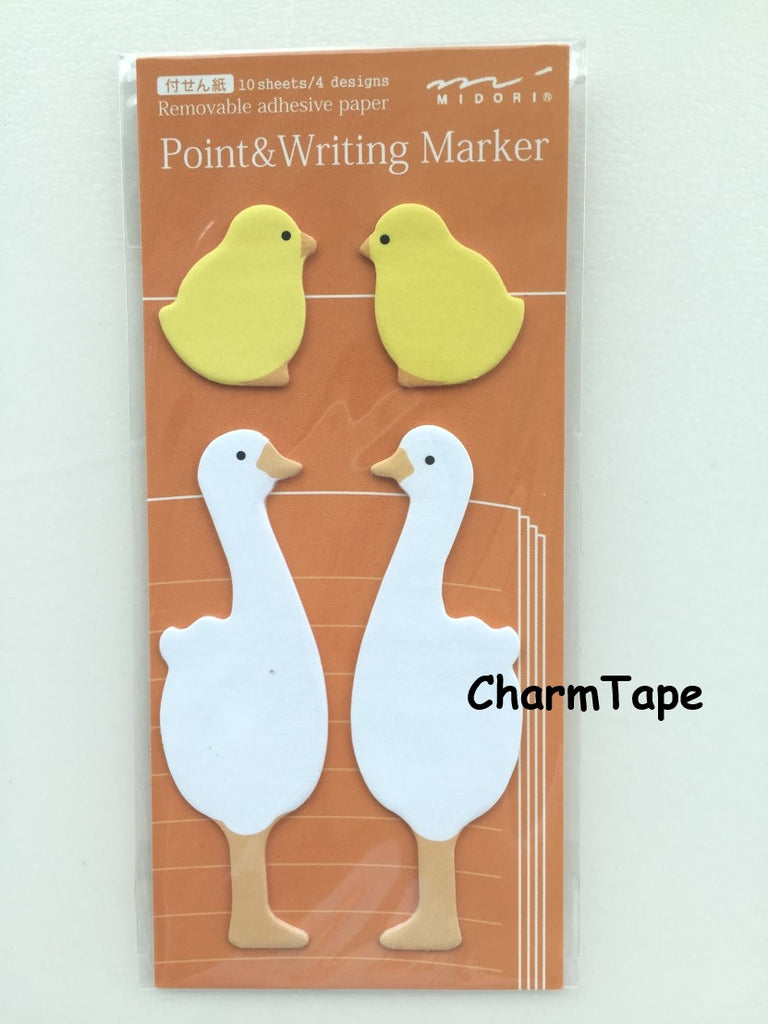 Duck & Baby Shaped Sticky Post-it Memo Marker Pad 40 sheets SS409 - CharmTape - 1
