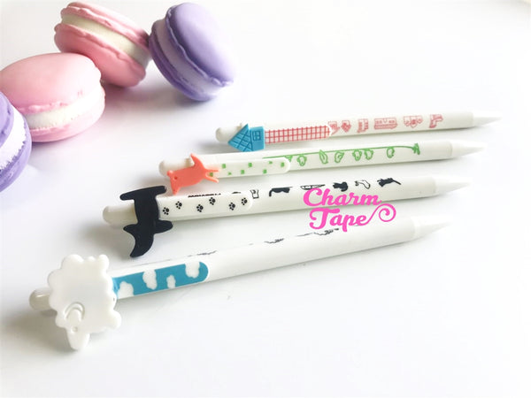 4 pieces Blue Ball Pens Cartoon Clip Point Pen 0.5mm BP003