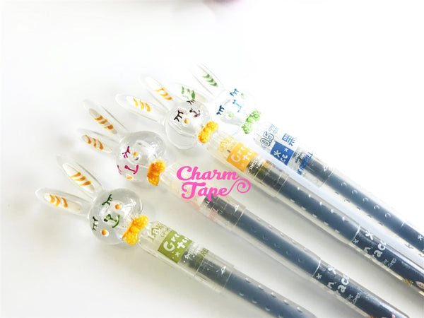 4 pieces Black Point Gel Ball Pens Sleeping Rabbits Pen 0.5mm BP004