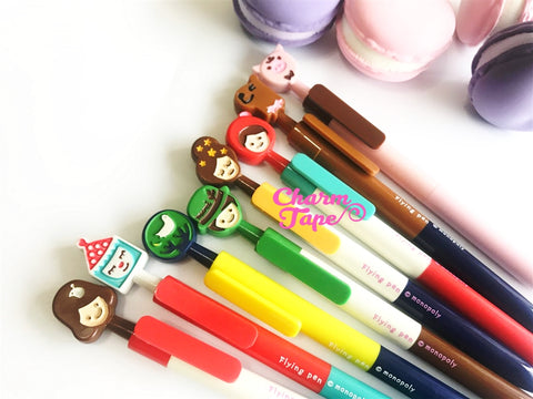 8 pieces Black Pens Fairy Tales Clip Pen 0.5mm BP010 by Monopoly Korea