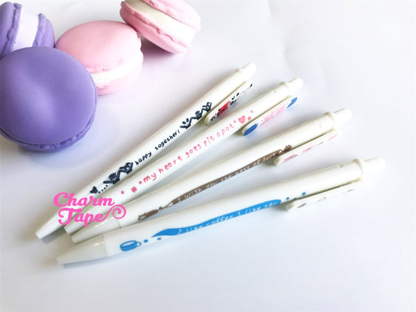 4 pieces Blue Ball Pens Farm Animal Theme Clip Pen 0.5mm BP007