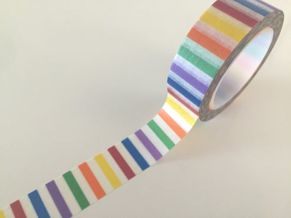 Vertical Rainbow Stripes Washi tape - 15 mm Wide - 10 meters  WT771 - CharmTape - 1