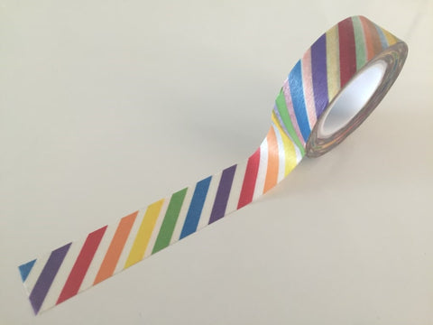 Diagonal Rainbow Stripes Washi tape - 15 mm Wide - 10 meters  WT772 - CharmTape - 1