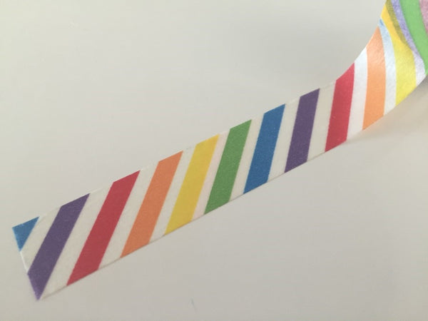 Diagonal Rainbow Stripes Washi tape - 15 mm Wide - 10 meters  WT772 - CharmTape - 2
