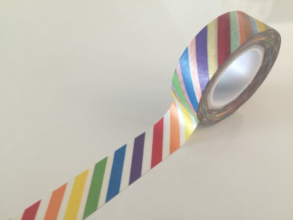 Diagonal Rainbow Stripes Washi tape - 15 mm Wide - 10 meters  WT772 - CharmTape - 3