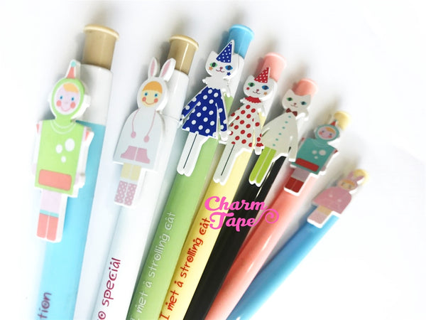 7 pieces Blue Ball Pens Cats & Costume Kids Clip Pen 0.5mm BP009