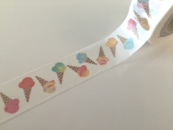 Ice-cream cones - Washi tape -15 mm 10 meters WT794 - CharmTape - 1