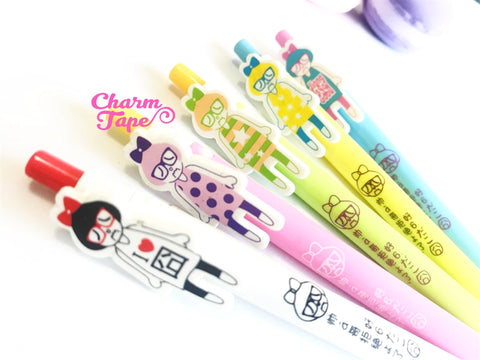 5 pieces Blue Ball Pens Sad Nerdy Girl Clip Pen 0.5mm BP008