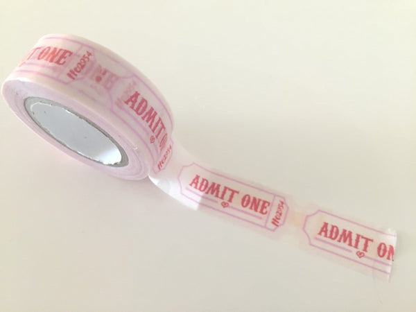 Pink Raffle Tickets - Washi tape - 15mm x 8 m WT817 - CharmTape - 2