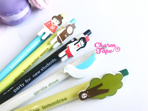5 pieces Blue Ball Pens Cartoon Clip Point Pen 0.5mm BP001