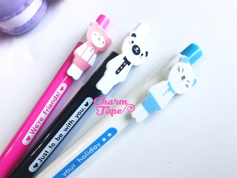 3 pieces Blue Ball Pens Cats & Bear Clip Pen 0.5mm BP011