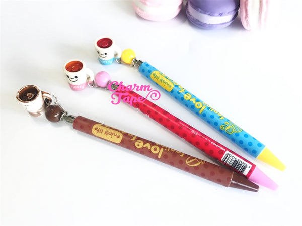 3 pieces Blue Ball Pens Coffee Mugs Charm Pen 0.5mm BP012