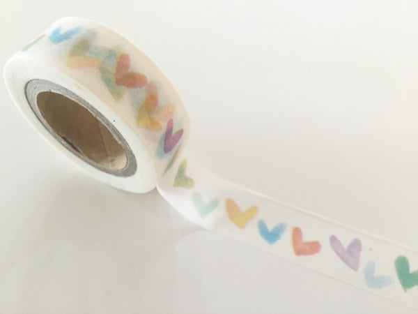 Water colored Heart print - Washi tape - 15 mm Wide - 10 meters WT790 - CharmTape - 2
