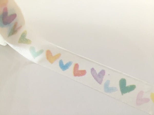 Water colored Heart print - Washi tape - 15 mm Wide - 10 meters WT790 - CharmTape - 1