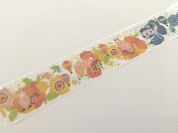 Woodland Deer & Owl - Washi tape - 15 mm Wide - 10 meters WT791 - CharmTape - 3