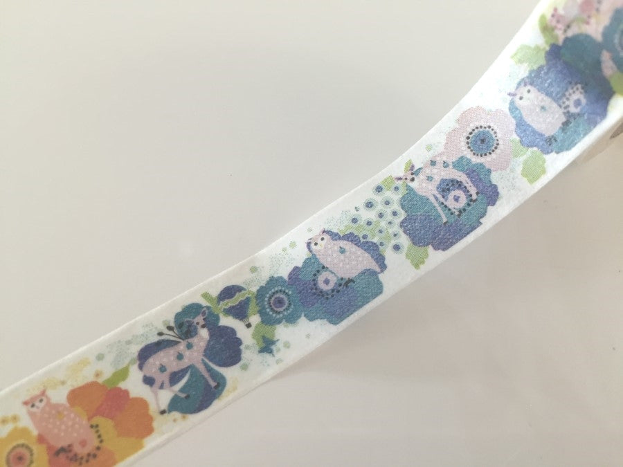 Woodland Deer & Owl - Washi tape - 15 mm Wide - 10 meters WT791 - CharmTape - 1