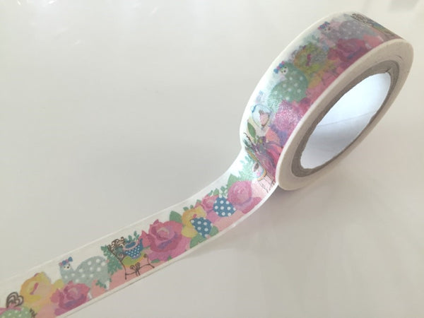 Pastel Lamb & Roses - Washi tape - 15 mm Wide - 10 meters WT792 - CharmTape - 1