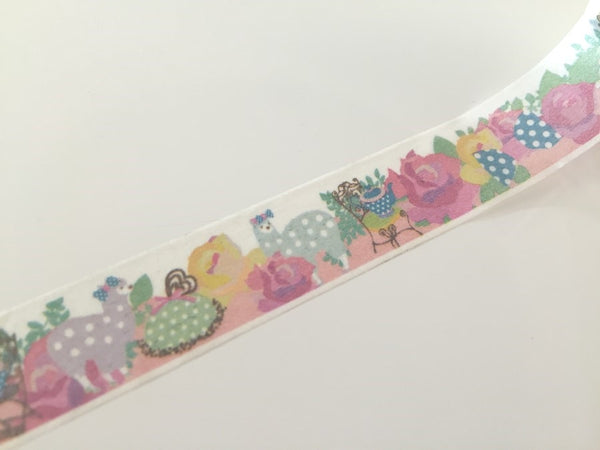 Pastel Lamb & Roses - Washi tape - 15 mm Wide - 10 meters WT792 - CharmTape - 2