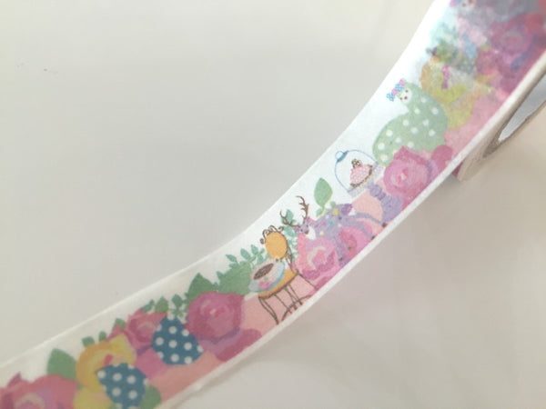 Pastel Lamb & Roses - Washi tape - 15 mm Wide - 10 meters WT792 - CharmTape - 3