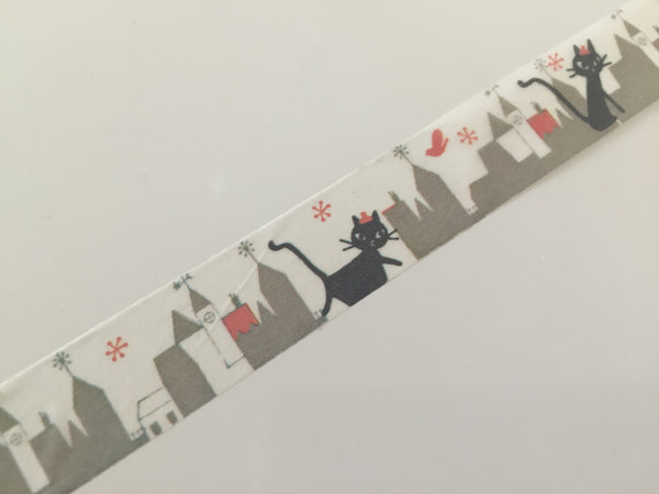 Black cat in city washi tape - 10 meters WT802 Shinzi Katoh - CharmTape - 2