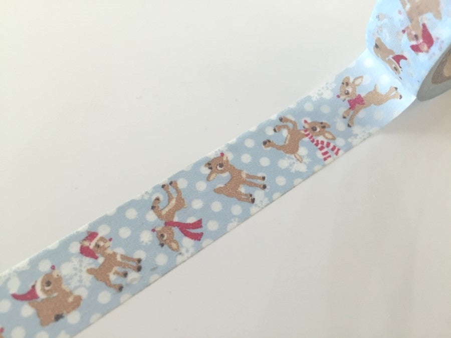 Festive Rudolph Reindeer Washi Tape 8m x 15mm WT848 - CharmTape - 1