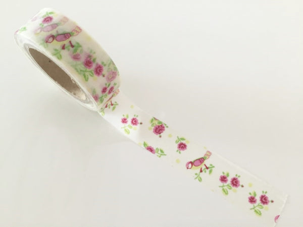Shabby Chic Bird & Roses - Washi Tape 15mm x 10 meters WT832 - CharmTape - 2