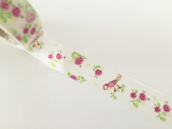 Shabby Chic Bird & Roses - Washi Tape 15mm x 10 meters WT832 - CharmTape - 1