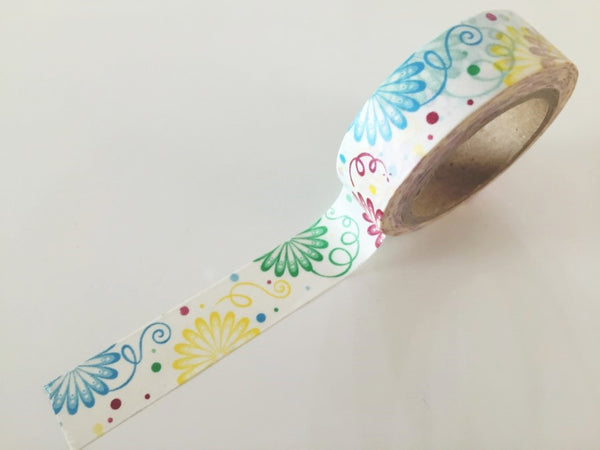 Spring Flower pattern Washi Tape 8m x 15mm WT852 - CharmTape - 1