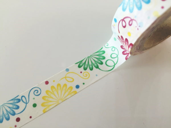Spring Flower pattern Washi Tape 8m x 15mm WT852 - CharmTape - 2