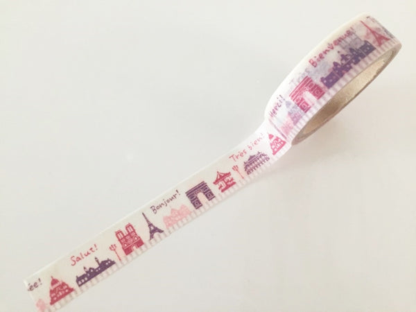 French Landmark - Washi Tape 15mm x 10 meters WT860 - CharmTape - 2