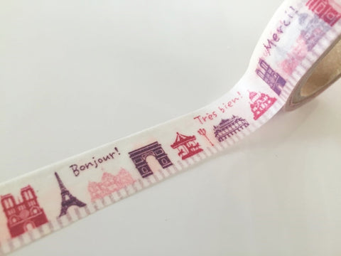 French Landmark - Washi Tape 15mm x 10 meters WT860 - CharmTape - 1