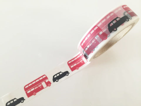 London Cab & Bus - Washi tape - 15 mm Wide - 10 meters  WT789 - CharmTape - 1