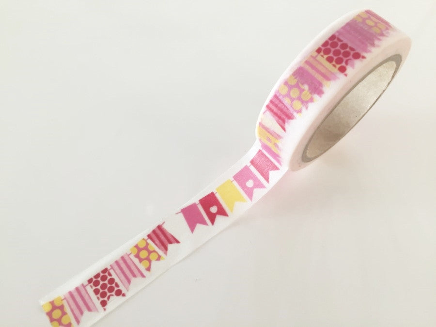 Pink Bunting Flags Washi tape - 15 mm Wide - 10 meters  WT776 - CharmTape - 1