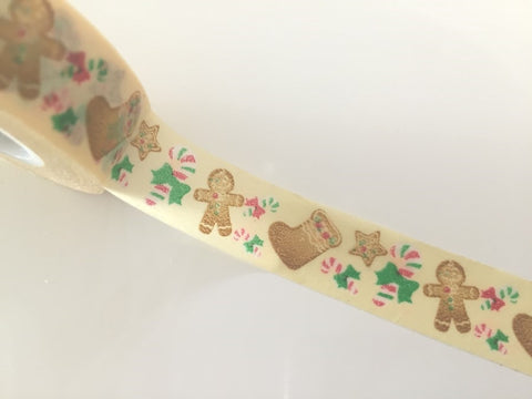 Festive Gingerbread Man - Washi tape -15 mm 15 meters WT799 - CharmTape - 1
