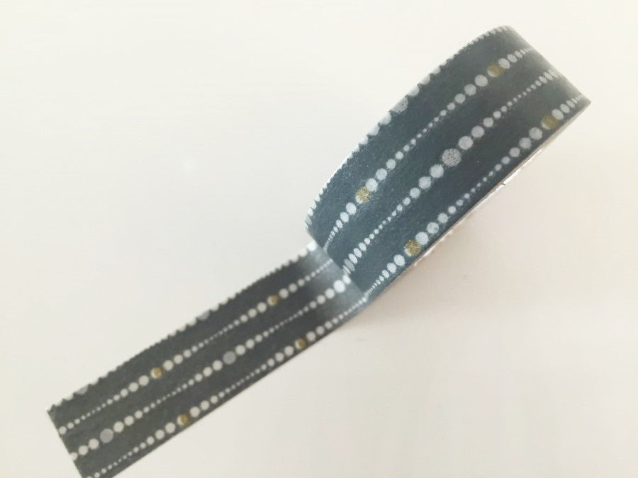 Grey & White Dotted Lines Washi Tape - 8 meters WT814 - CharmTape - 1