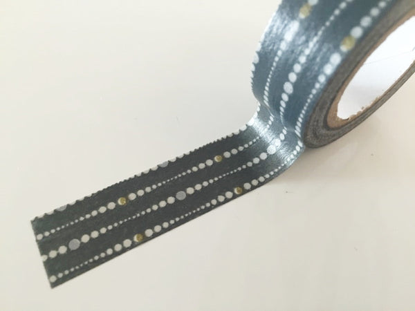 Grey & White Dotted Lines Washi Tape - 8 meters WT814 - CharmTape - 2
