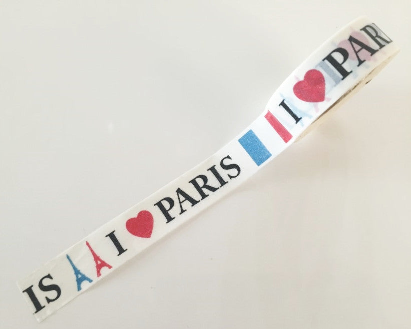 I Love Paris - Washi Tape 15mm x 10 meters WT838 - CharmTape - 1