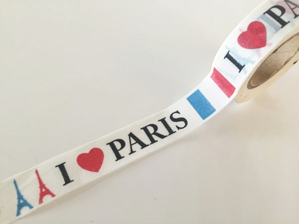 I Love Paris - Washi Tape 15mm x 10 meters WT838 - CharmTape - 2
