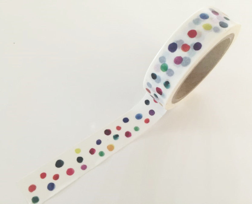 Watercolor Polka dots Washi Tape 8m x 15mm WT856 - CharmTape - 1